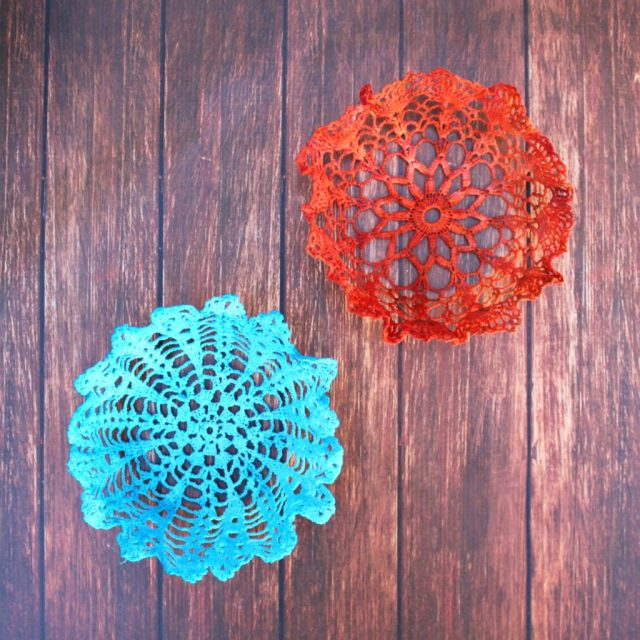 Transform beautiful old doilies into brightly colored, multi functional doily bowls! A great way to organize small items easily.