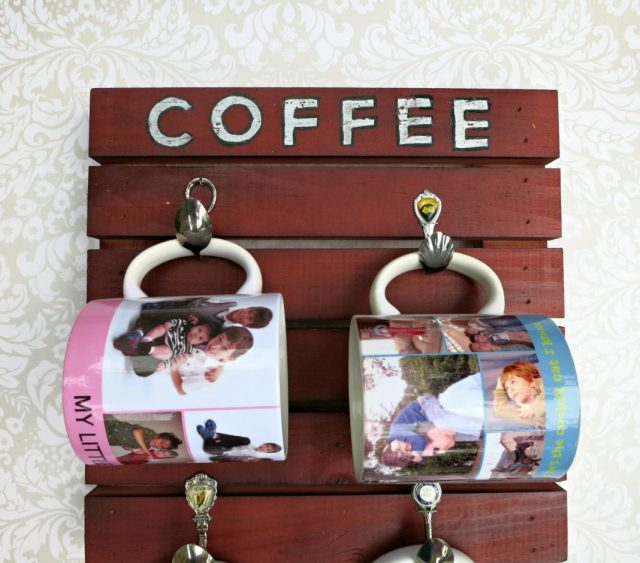 Use a craft pallet to make your own fun coffee mug hanger.  What a fun way to store and display all your favorite drinking mugs!