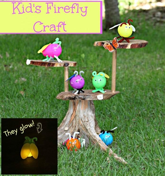 kids craft fireflies text