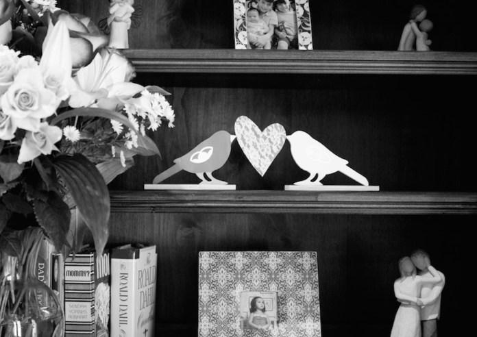 shelf with love bird decor DIY