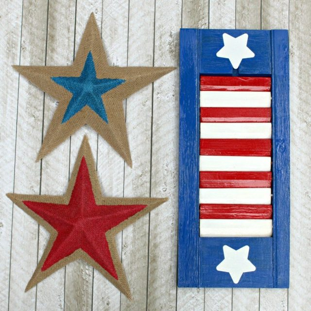 Turn thrift store shutters into rustic patriotic decor!  This easy to make project is perfect for holidays and easy to make.