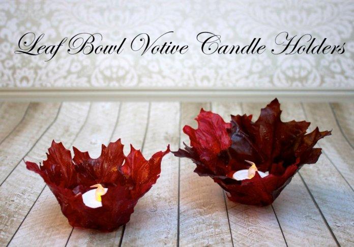 leaf bowl DIY candle holders