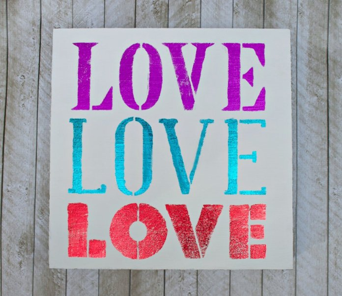 DIY foil wall art LOVE sign