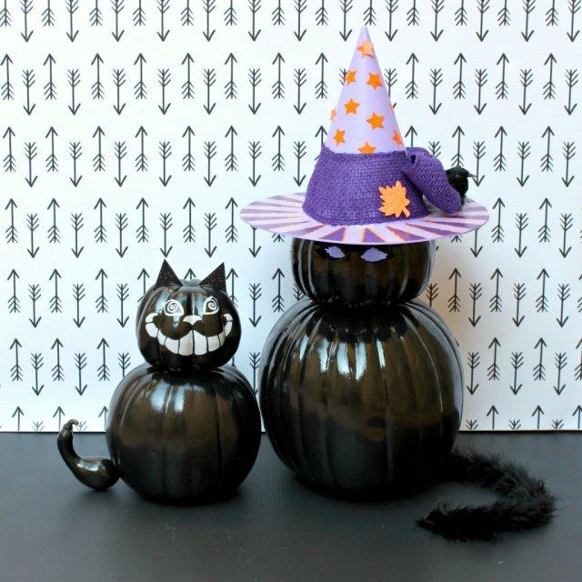 DIY Black Cat Pumpkins