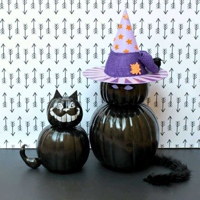 DIY Black Cat Pumpkins