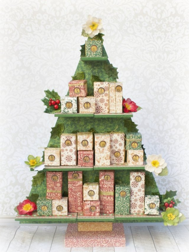 Create a festive Christmas tree countdown calendar using products from Graphic 45, Petaloo, and Xyron. Great home decor craft project!