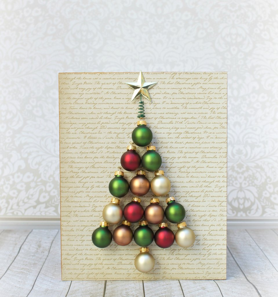 holiday wall art diy tree made with ornaments morena 39 s corner. Black Bedroom Furniture Sets. Home Design Ideas