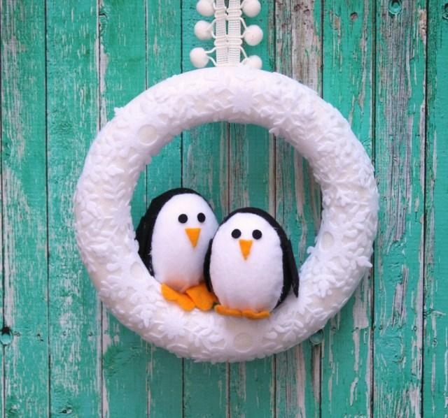 Make a designer inspired penguin winter wreath.