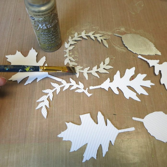 gold paint leaves