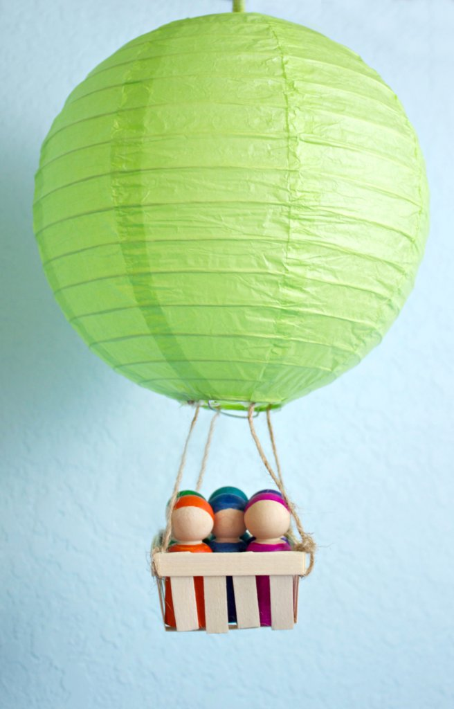 Colorful Peg Doll DIY with hot air balloon