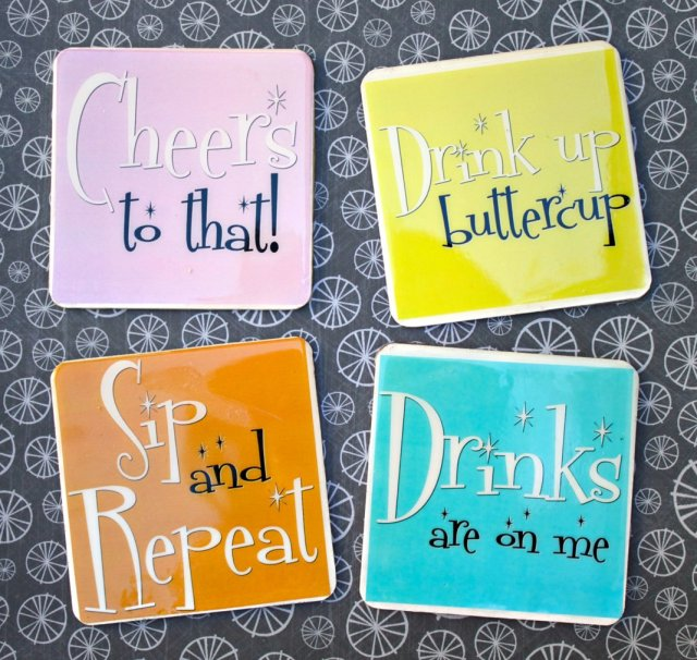Make funny coasters that will last by using weather proof printable labels, a free printable, and resin. Complete tutorial.
