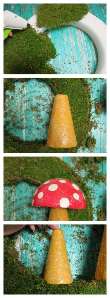 make a mushroom wreath