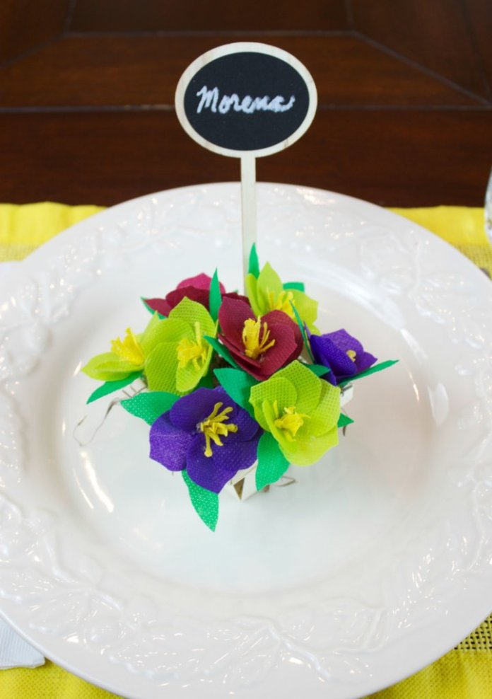 fabric flower place card with Sizzix dies