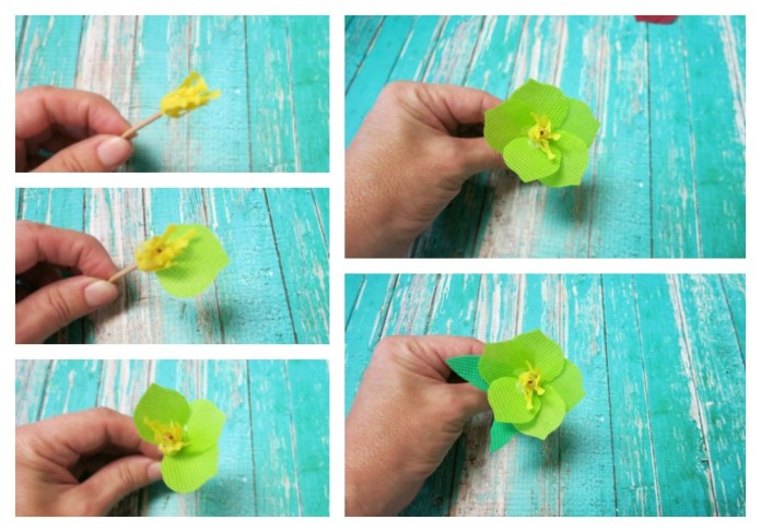 how to assemble fabric flowers
