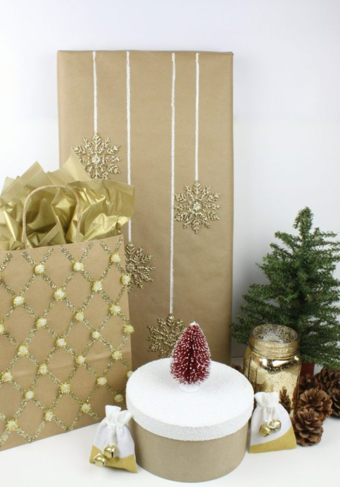 Make your own gift wrap using kraft paper