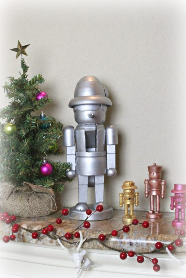 Make metallic nutcracker decor to decorate your home with this holiday season.