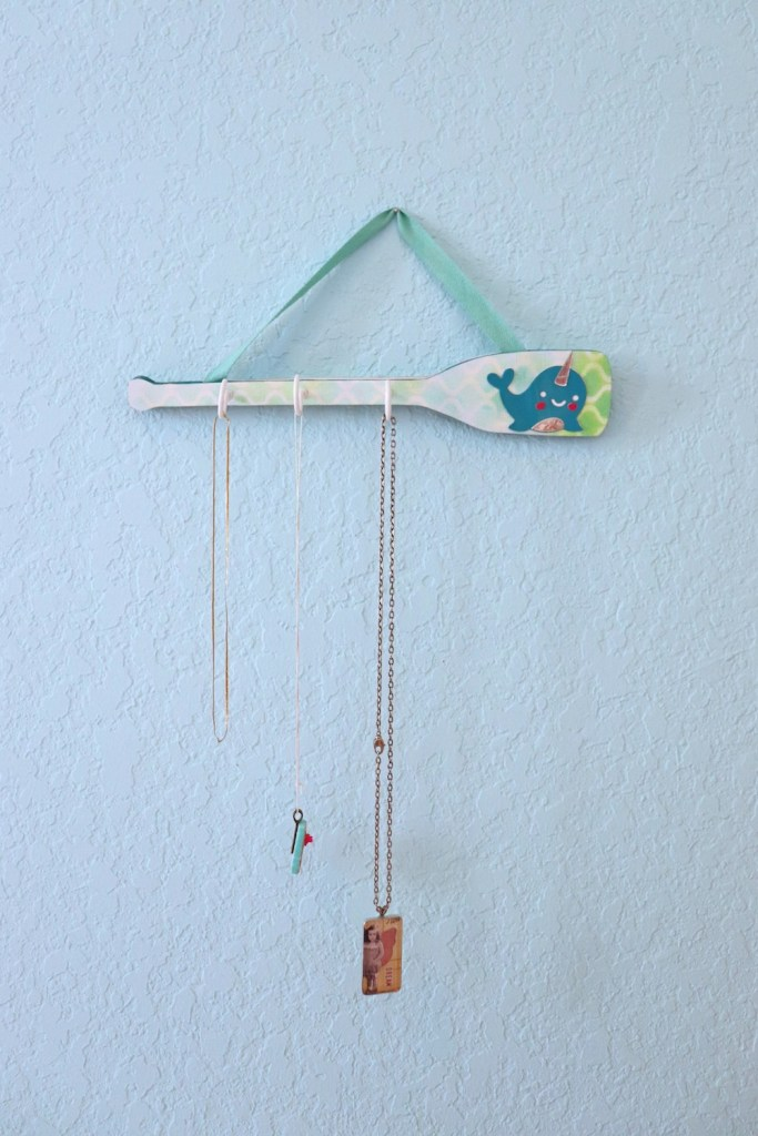 Make a narwhal necklace hanger to bring the unicorn of the sea to home organization.