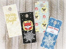 Make holiday door hangers that double as tags using free printables and prescored white cardstock door hanger paper