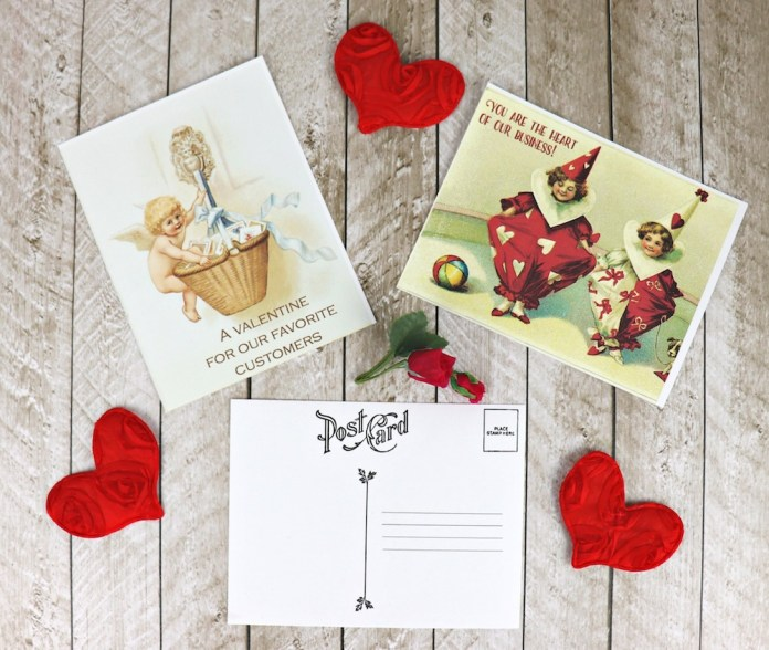 Make Valentine's Day postcards using these free printables
