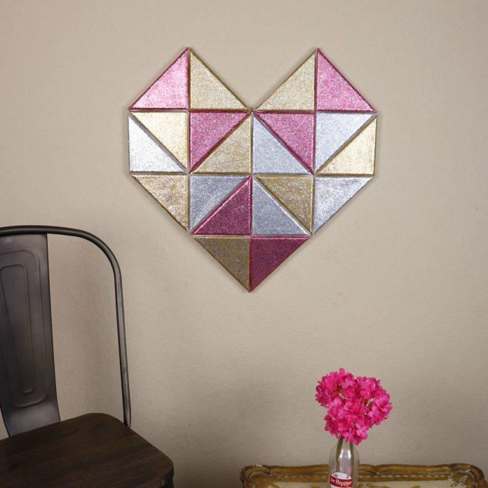 galaxy glitter geometric heart DIY art