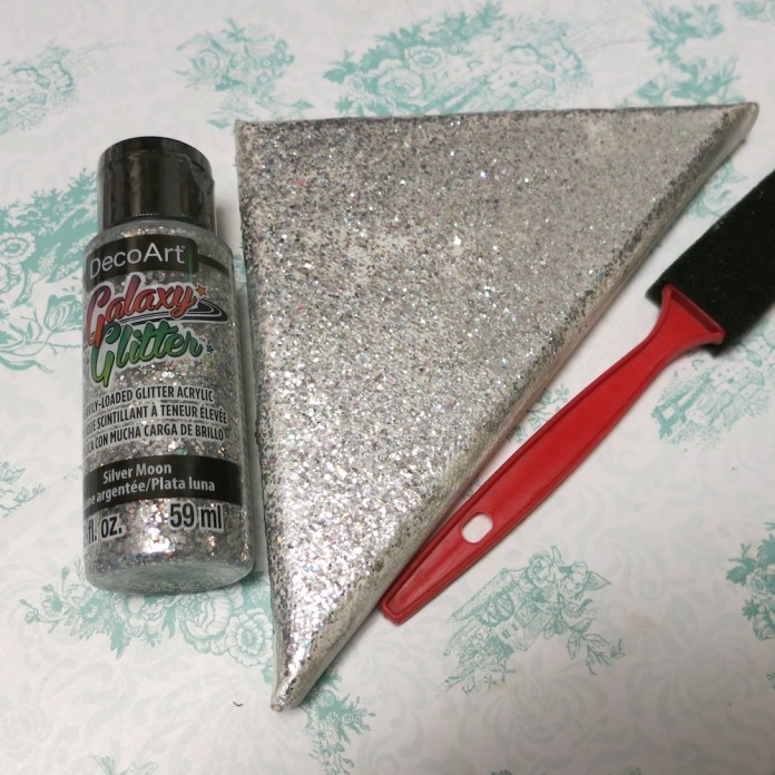 silver glitter geometric heart DIY art