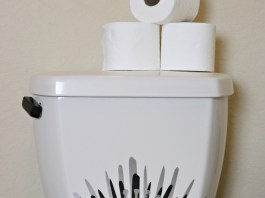 "This Iron Throne vinyl decal is perfect for updating the ""throne"" in your bathroom."
