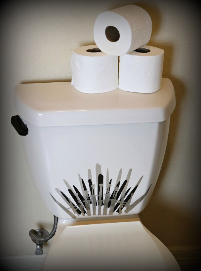 """This Iron Throne vinyl decal is perfect for updating the """"throne"""" in your bathroom."""
