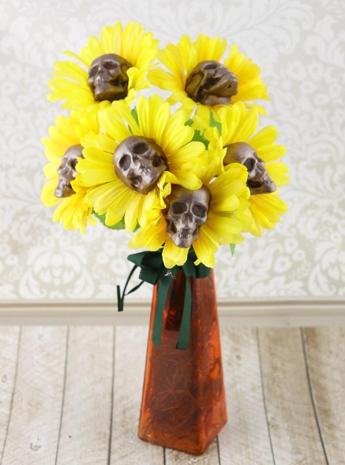Sunflower Skulls Bouquet Gothic Halloween Decor