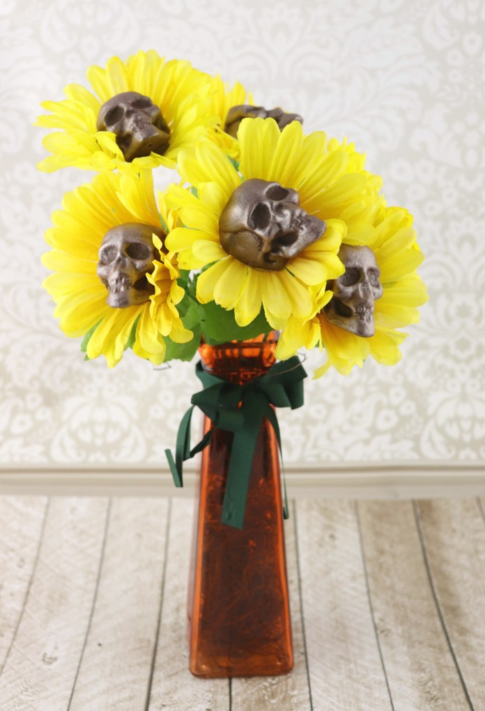 Sunflower Skulls Bouquet Gothic Halloween Decor