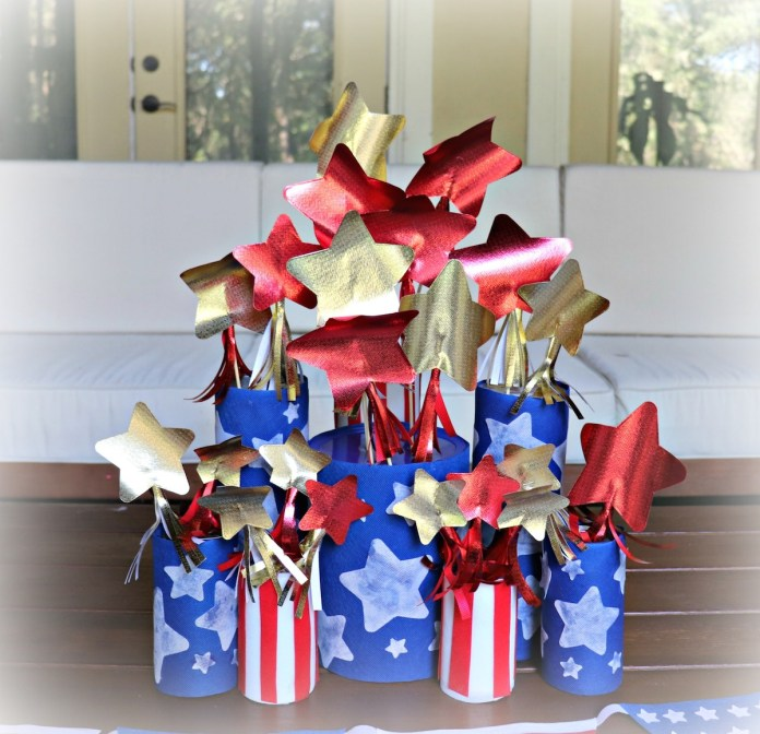 turn recyclables into patriotic centerpiece