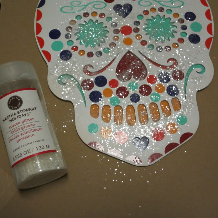 Martha Stewart glitter added to sugar skull