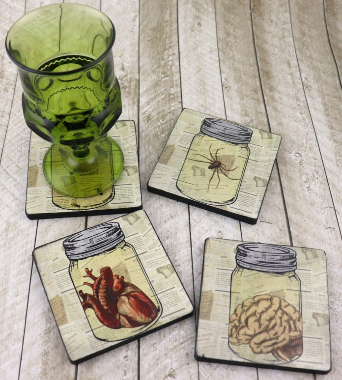 How to make creepy coasters with Mod Podge for Halloween