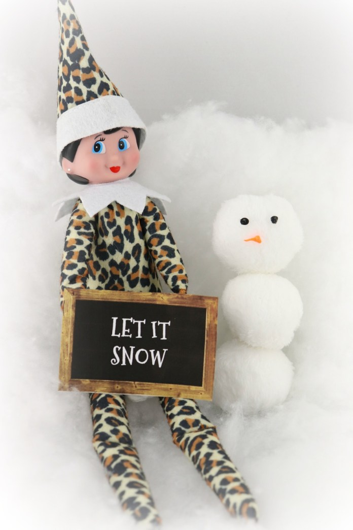 elf on shelf with plush snowballs snowman