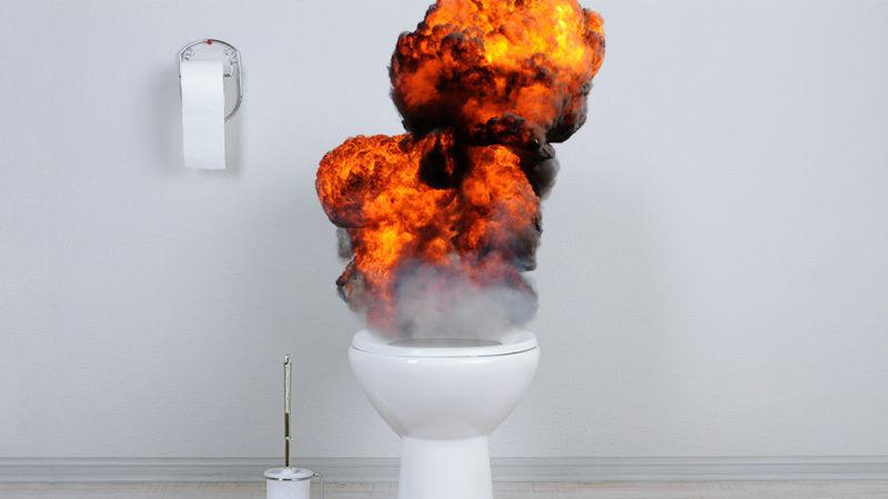 explosing toilet