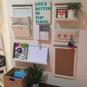 "Back to school tip - a wall-mounted ""mission control"" of notice board, shelving and key hooks to keep the home orgnanised"