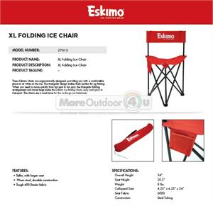 tall fishing chair white leather wingback 27613 eskimo xl folding ice seat