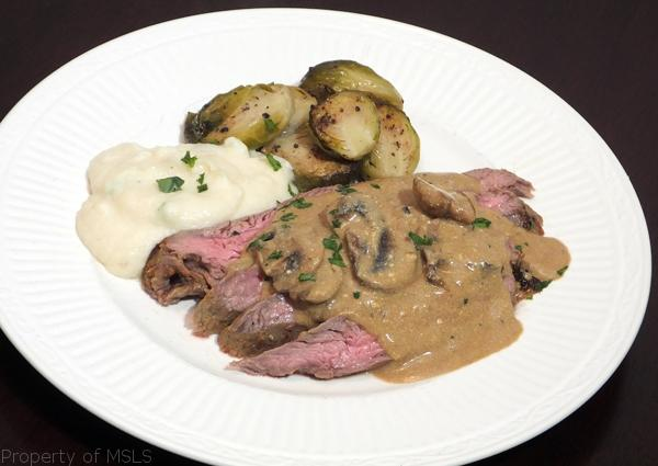 curried flank steak with mushrooms and low car mock mashed potatoes