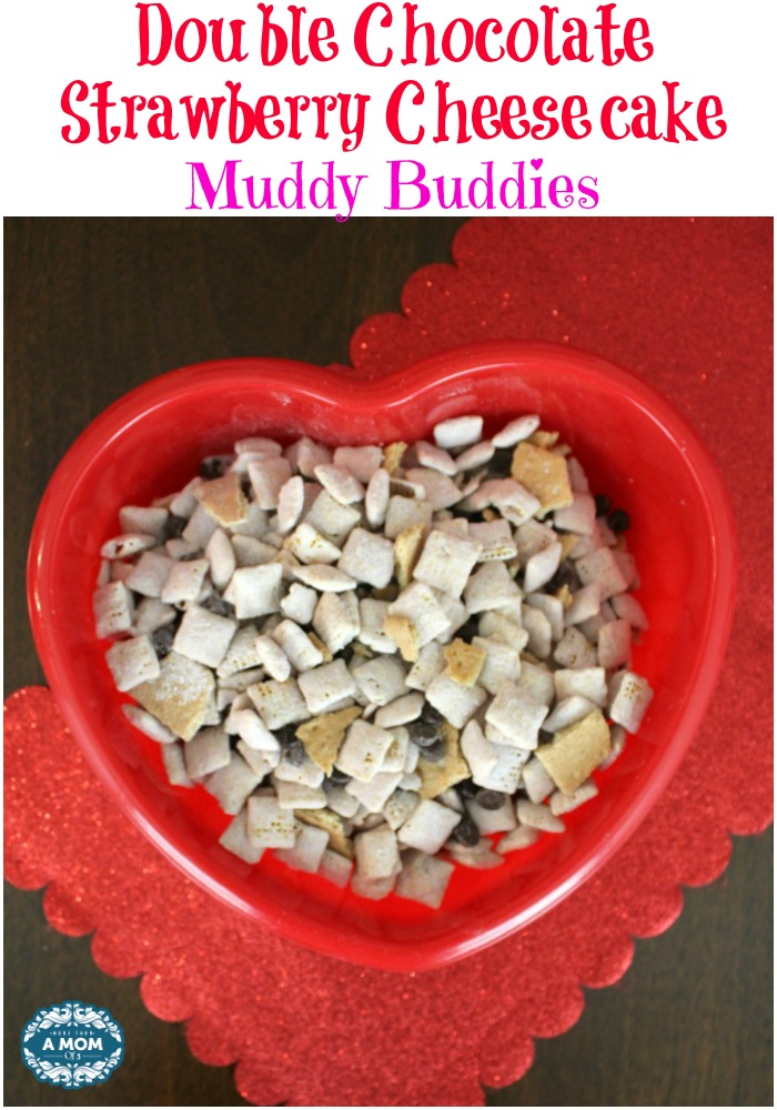 Double Chocolate Strawberry Cheesecake Muddy Buddies for Valentines day