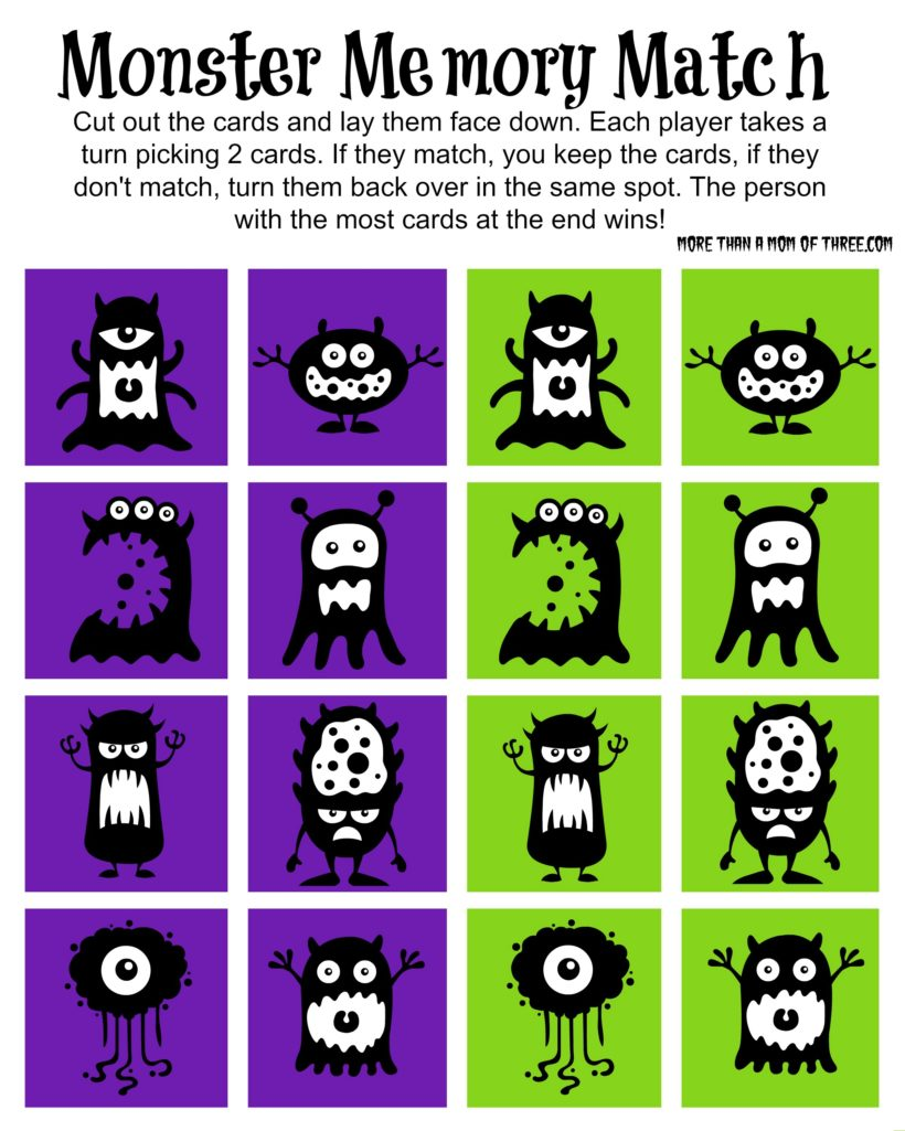Free Halloween Monster Memory Match Game Printable - More Than A Mom ...