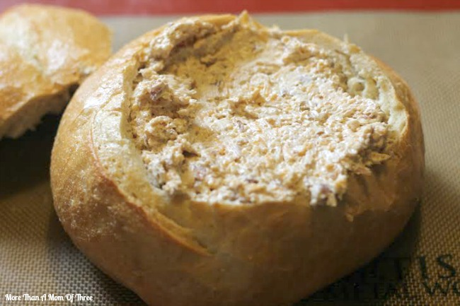 bacon chedder cheese dip in bread bowl