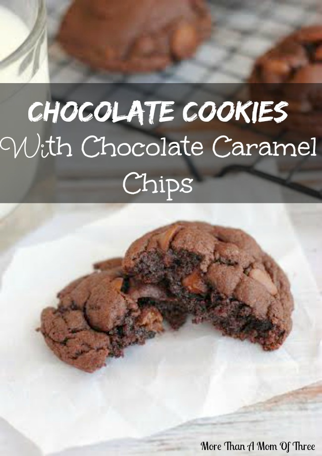 delicious chocolate cookies with chocolate caramel chips