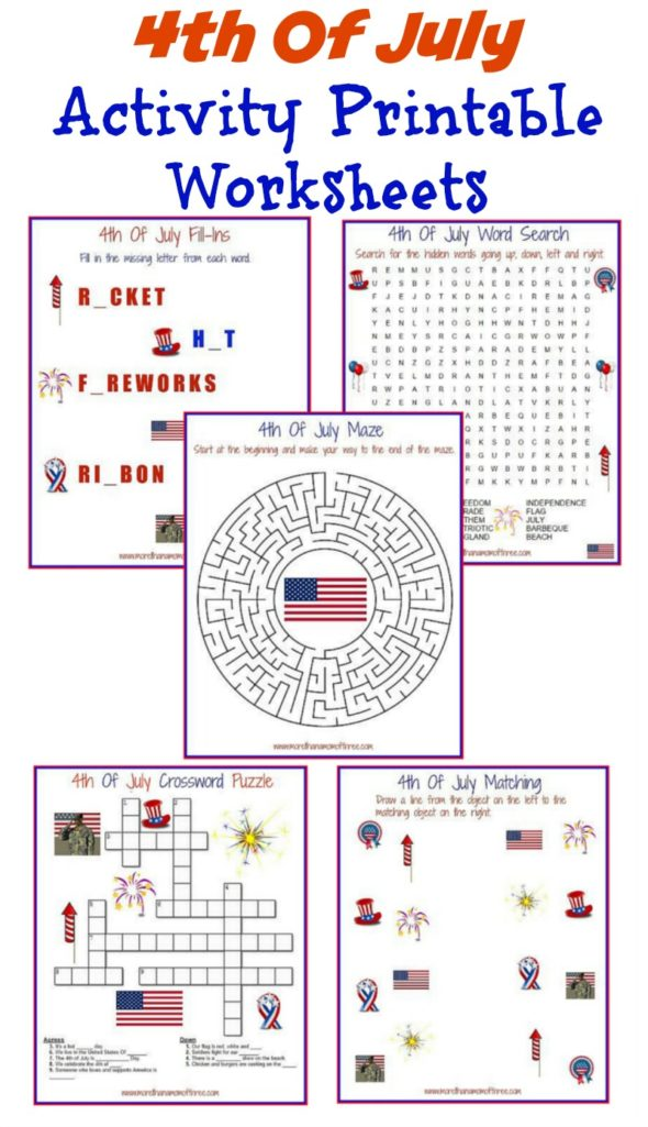 4th Of July Activity Printable Worksheets More Than A Mom Of Three