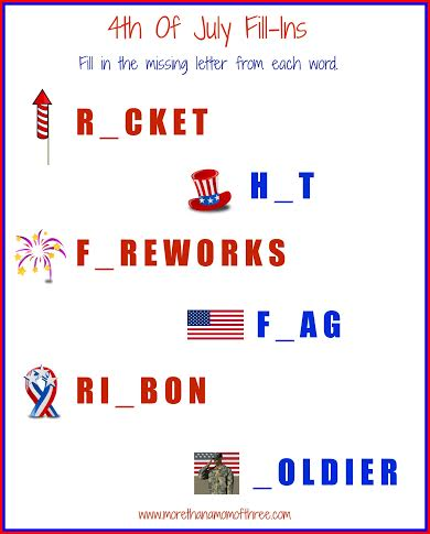 4th of july fill in activity sheet