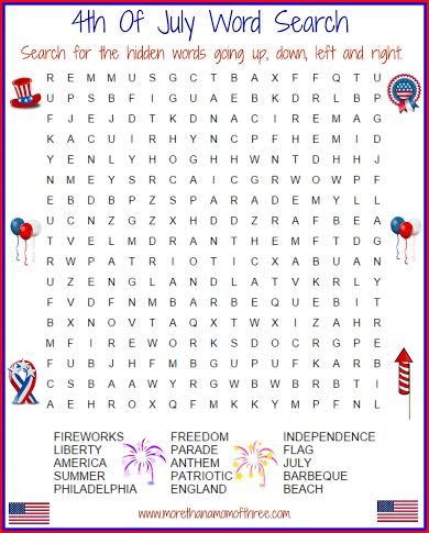4th of july wordsearch activity printable