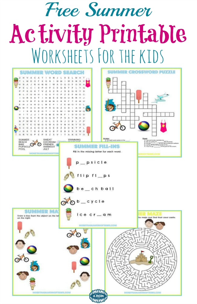 5 Free Summer Activity Printable Worksheets