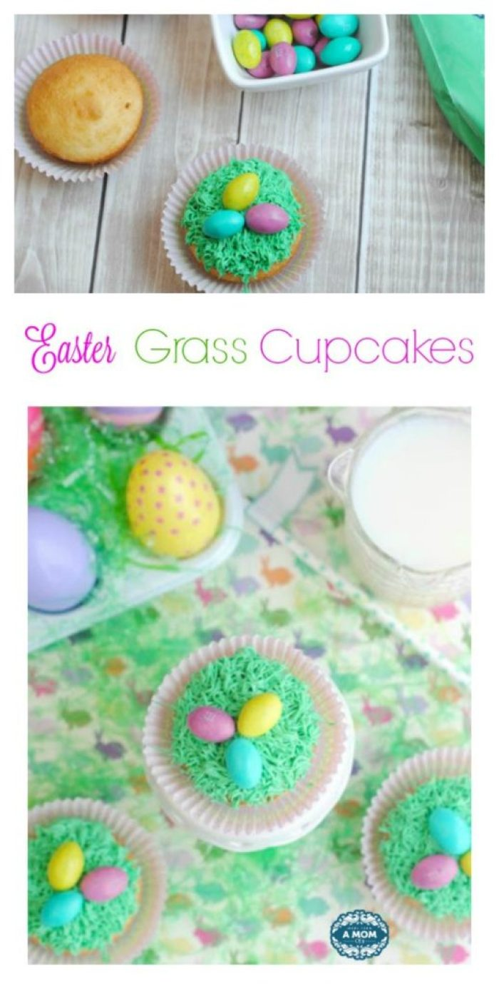 Preheat the oven to 350 degrees and spray a 12 count muffin tin with non-stick spray or use Easter theme cupcake liners. Combine all the cupcake ingredients and fill each muffin well about 3/4 full. Bake for 20-25 minutes. Let the cupcakes cool completely prior to decorating. Give the white frosting a few drops of green food coloring and stir to combine. Add a drop or two at a time and mix if you want the frosting a darker green. Once the cupcakes have cooled, attached the frosting tip to the piping bag and fill with green frosting. Gently squeeze the frosting out of the bag to form grass on the top of each cupcake. Give each grass covered cupcake a few M&M peanut butter eggs. ENJOY! *Makes approximately 12 cupcakes.