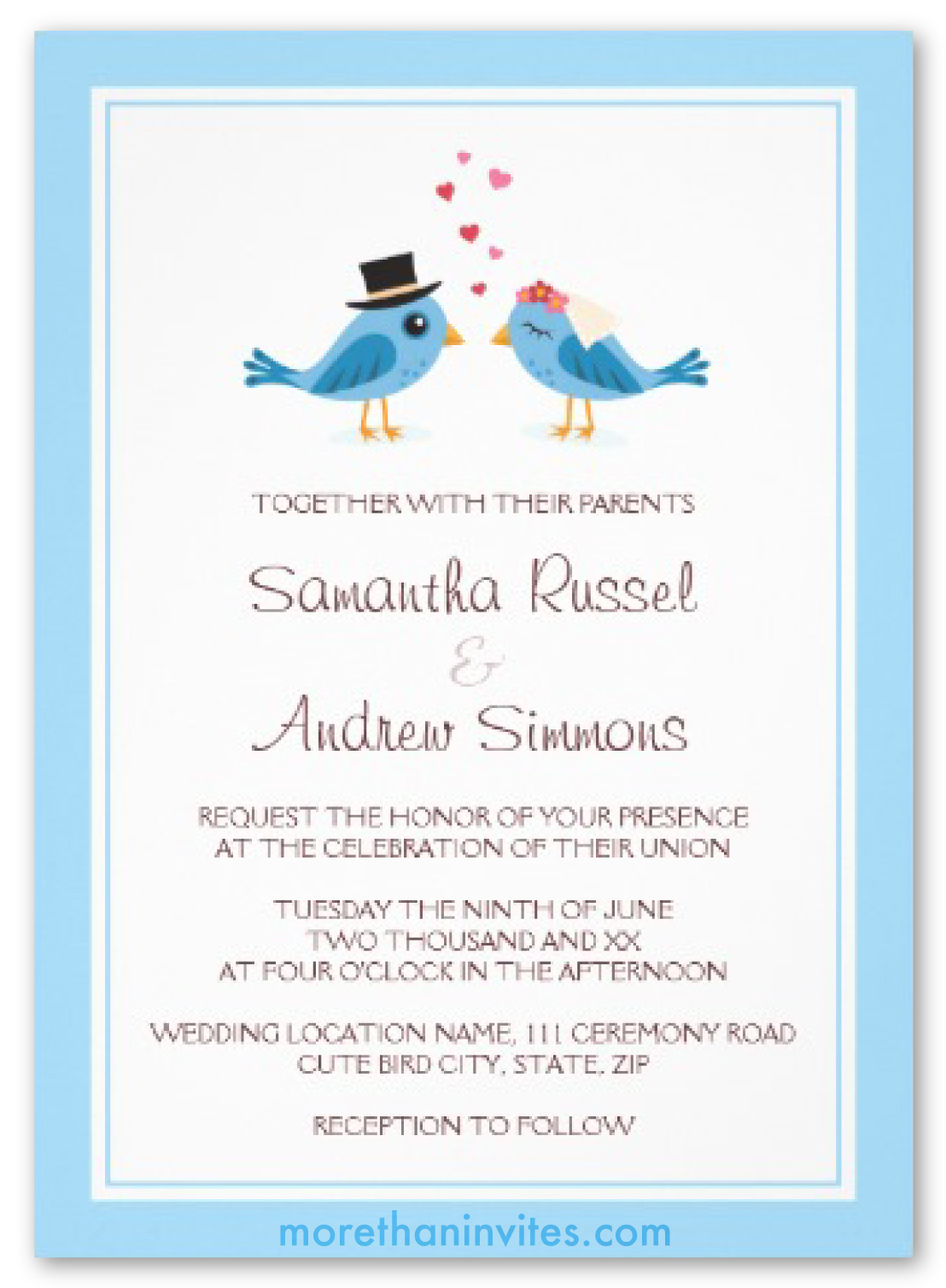 Cute Blue Bird Bride And Groom Wedding Invitation More
