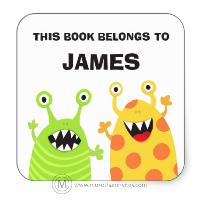 Fun Bookplates For Children With Cute Cartoon Monsters