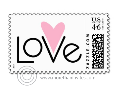 Modern Postage Stamps With Text Love And A Pink Heart In