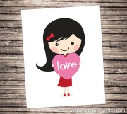 cartoon girl holding pink heart